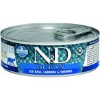 Корм Farmina N&D OCEAN Sea Bass, Sardine & Shrimps (консерв.) для взрослых кошек, морской окунь с сардиной и креветками, 80 г