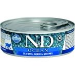 Корм Farmina N&D OCEAN Sea Bass, Squid & Shrimps (консерв.) для взрослых кошек, морской окунь с кальмаром и креветками, 80 г