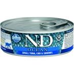 Корм Farmina N&D OCEAN Tuna, Cod & Shrimps (консерв.) для взрослых кошек, тунец с треской и креветками, 80 г