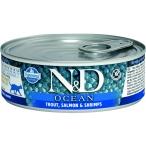 Корм Farmina N&D OCEAN Trout, Salmon & Shrimps (консерв.) для взрослых кошек, форель с лососем и креветками, 80 г
