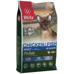 Корм Blitz Holistic Chicken & Fish (низкозерновой) для кошек, курица и рыба, 400 г