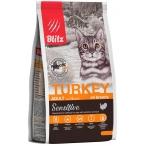 Корм Blitz Sensitive Turkey для кошек, с индейкой, 400 г