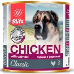 Корм Blitz Classic Chicken & Oatmeal (консерв.) для собак, курица с овсянкой, 750 г