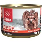 Корм Blitz Sensitive Beef & Pumpkin для собак, говядина с тыквой, 200 г