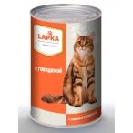 Корм Lapka (в соусе) для кошек с говядиной, 415 г