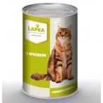 Корм Lapka (в соусе) для кошек с кроликом, 415 г