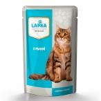 Корм Lapka (в соусе) для кошек с рыбой, 85 г