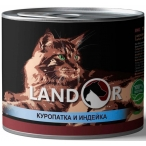 Корм Landor Game & Turkey (консерв.) для кошек, куропатка с индейкой, 200 г