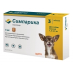 Симпарика (Zoetis) жевательная таблетка для собак 1.3 - 2.5 кг, от блох и клещей,  5 мг