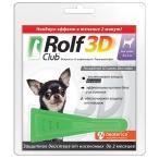 Капли RolfClub 3D для собак до 4 кг, от блох и клещей,  1 пипетка, 0,5 мл