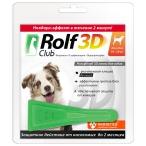 Капли RolfClub 3D для собак 10 - 20 кг, от блох и клещей, 1 пипетка, 1,5 мл