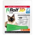 Капли RolfClub 3D для кошек до 4 кг, от блох и клещей, 1 пипетка, 0,5 мл