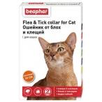 Flea & Tick (Beaphar) ошейник для кошек, от блох и клещей, оранжевый, 35 см