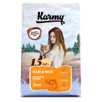 Корм Karmy Hair & Skin для кошек, поддерживающий здоровье кожи и шерсти, с лососем, 1.5 кг
