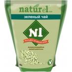 Наполнитель N1 NATUReL Зеленый чай для кошек, древесный, комкующийся, 4.5 л, 1.75 кг
