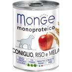 Корм Monge Dog Monoproteico Fruits консервы для собак паштет из кролика с рисом и яблоками, 400 г