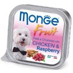 Корм Monge Dog Fruit консервы для собак курица с малиной, 100 г