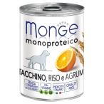 Корм Monge Dog Monoproteico Fruits консервы для собак паштет из индейки с рисом и цитрусовыми, 400 г