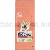 Корм Dog Chow Sensitive Adult для собак с чувствительным пищеварением с лососем, 14 кг