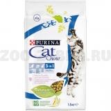 Корм Cat Chow 3 in 1 для кошек тройная защита 3 в 1 (МКБ, вывод шерсти, защита зубов), 1.5 кг