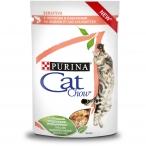 Корм Cat Chow Sensitive (в соусе) для кошек с чувствительным пищеварением, с лососем и кабачками, 85 г