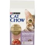 Корм Cat Chow Sensitive для кошек с чувствительным пищеварением, с домашней птицей и лососем, 15 кг