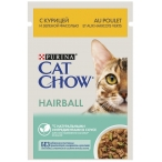 Корм Cat Chow Hairball (в соусе) для кошек, для вывода шерсти из желудка, с курицей и зеленой фасолью, 85 г