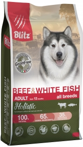 Корм Blitz Holistic Beef & White Fish (беззерновой) для собак, говядина и белая рыба, 500 г