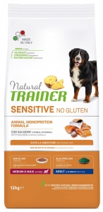 Корм Trainer Natural Sensitive No Gluten Medium & Maxi Adult Dog Salmon для собак средних и крупных пород, с лососем, 3 кг