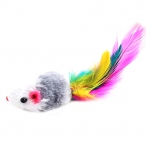 """Игрушка для кошек """"Мышка с погремушкой"""" с мехом и перьями"""