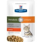 Корм Hill's Prescription Diet Metabolic + Urinary Weight+Urinary Care пауч для кошек для оптимального веса и мочевыводящих путей курица 10048, 85 г