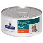 Корм Hill's Prescription Diet w/d Digestive/Weight Management для кошек для оптимального веса и здоровья при сахарном диабете с курицей 9455, 156 г