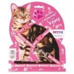 Dezzie Комплект красного цвета для кошек: шлейка 1*22-42см + поводок 1*120см (5609536), 0,07 кг