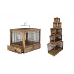 "Yami-Yami Клетка для птиц ""Под старину"" большая, деревянная, цвет палисандр 71x33,5x51, 4 кг"