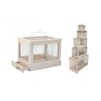 "Yami-Yami Клетка для птиц ""Под старину"" малая, деревянная, цвет белый, 47,5x27x32, 2,5 кг"