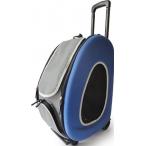 Ibbiyaya складная сумка-тележка 3 в 1 для собак до 8 кг (сумка, рюкзак, тележка) синяя