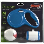 Flexi набор (рулетка NEW Classic М (до 20 кг) трос 5 м + LED фонарик + Multi-box) синий