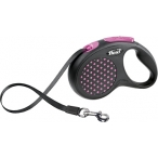 Flexi рулетка Design S (до 15 кг) 5 м лента черная/розовый горошек