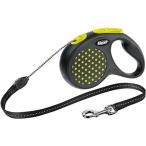Flexi рулетка Design S (до 12 кг) 5 м трос черный/желтый горох