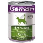 Корм Gemon Cat Sterilised консервы для стерилизованных кошек паштет индейка, 400 г