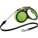 flexi рулетка New Comfort М (до 20 кг) трос 5 м черный/зеленый
