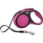 flexi рулетка New Comfort S (до 15 кг) лента 5 м черный/розовый