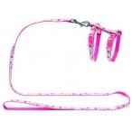 Hunter Smart шлейка для кошек и собак Retro Flower нейлон розовая