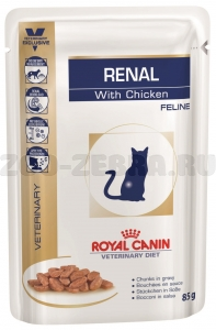 Корм Royal Canin Renal Feline with chicken, pauch, 0,085 кг